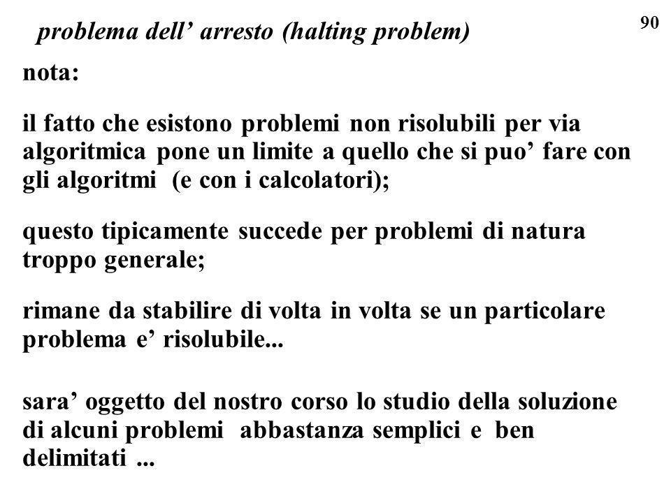 90 problema dell arresto (halting problem) nota: il fatto che esistono problemi non risolubili per via algoritmica pone un limite a quello che si puo