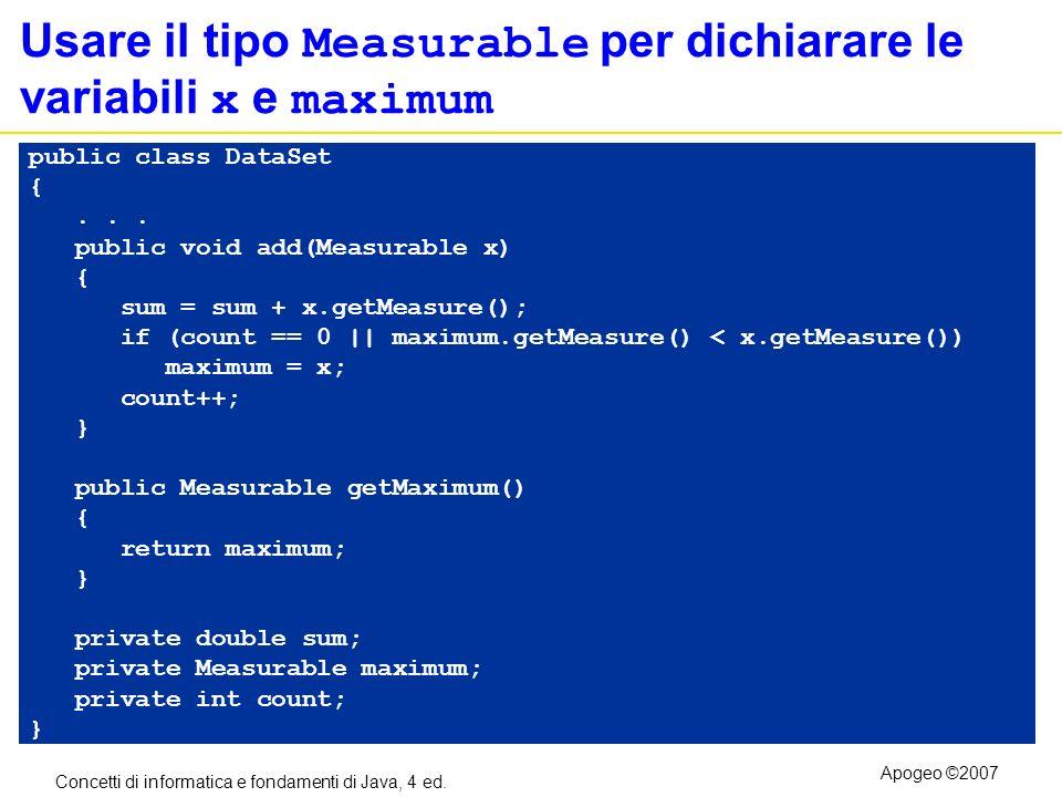 Concetti di informatica e fondamenti di Java, 4 ed. Apogeo ©2007 Usare il tipo Measurable per dichiarare le variabili x e maximum public class DataSet