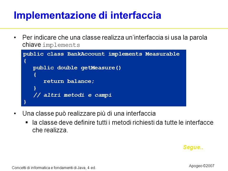 Concetti di informatica e fondamenti di Java, 4 ed. Apogeo ©2007 Implementazione di interfaccia Per indicare che una classe realizza uninterfaccia si