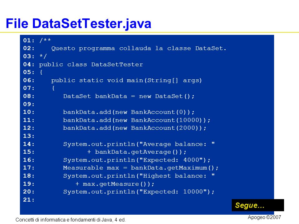 Concetti di informatica e fondamenti di Java, 4 ed. Apogeo ©2007 File DataSetTester.java 01: /** 02: Questo programma collauda la classe DataSet. 03: