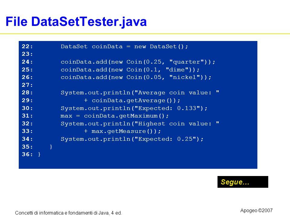 Concetti di informatica e fondamenti di Java, 4 ed. Apogeo ©2007 File DataSetTester.java Segue… 22: DataSet coinData = new DataSet(); 23: 24: coinData