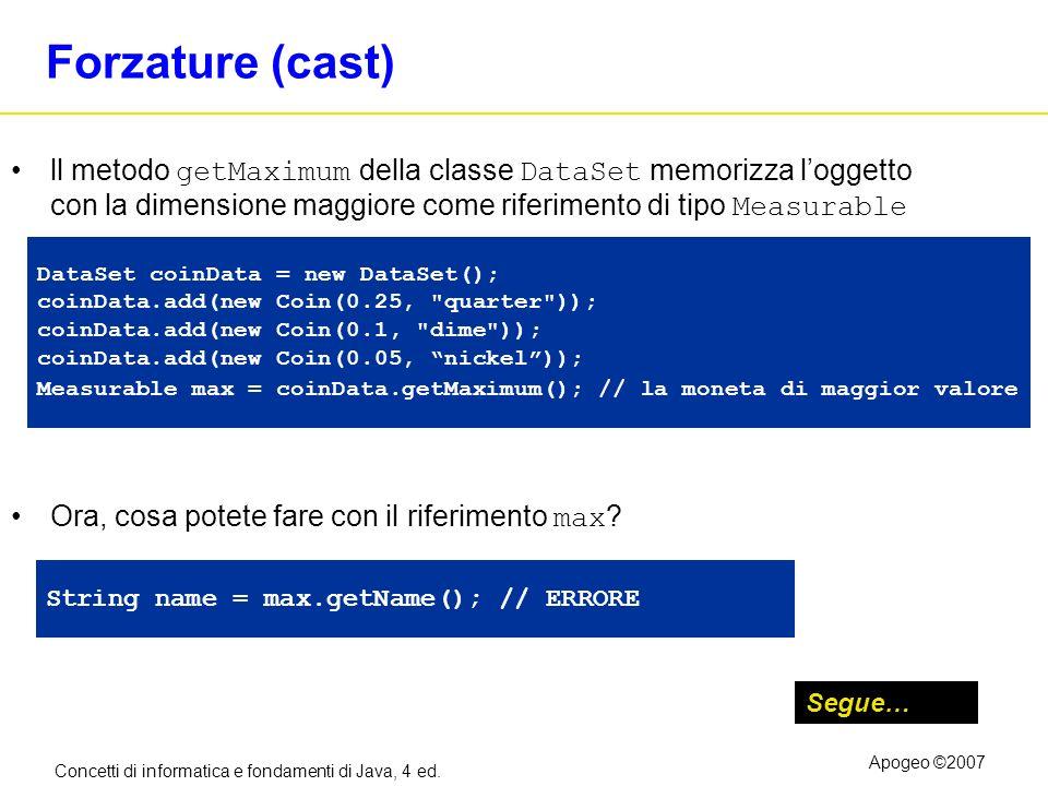 Concetti di informatica e fondamenti di Java, 4 ed. Apogeo ©2007 Forzature (cast) ll metodo getMaximum della classe DataSet memorizza loggetto con la