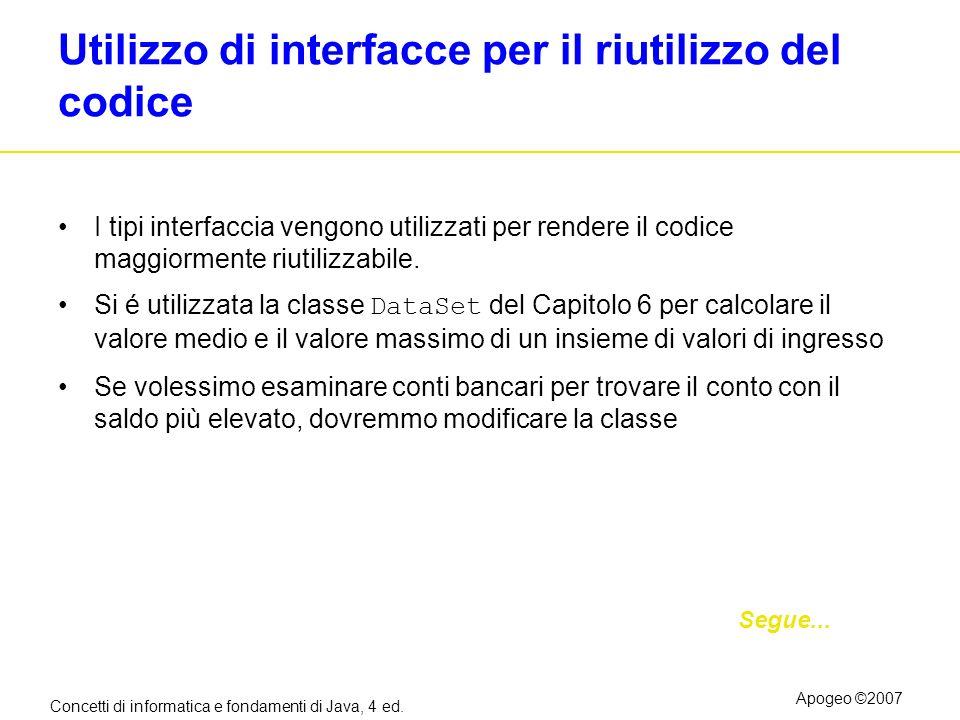 Concetti di informatica e fondamenti di Java, 4 ed. Apogeo ©2007 Utilizzo di interfacce per il riutilizzo del codice I tipi interfaccia vengono utiliz