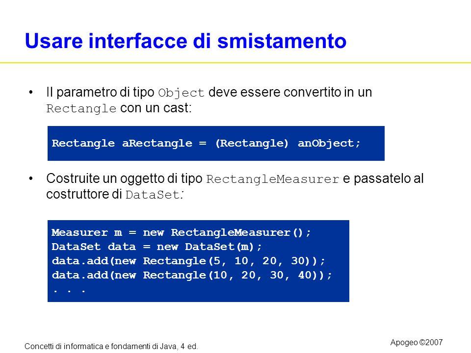 Concetti di informatica e fondamenti di Java, 4 ed. Apogeo ©2007 Usare interfacce di smistamento Il parametro di tipo Object deve essere convertito in