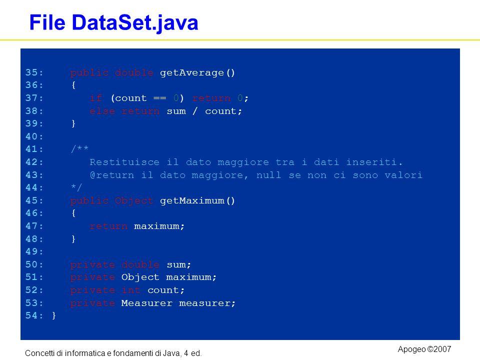 Concetti di informatica e fondamenti di Java, 4 ed. Apogeo ©2007 File DataSet.java 35: public double getAverage() 36: { 37: if (count == 0) return 0;