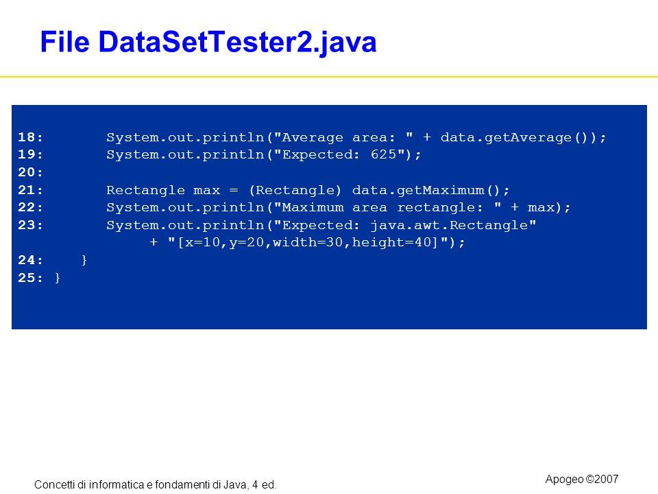 Concetti di informatica e fondamenti di Java, 4 ed. Apogeo ©2007 File DataSetTester2.java 18: System.out.println(