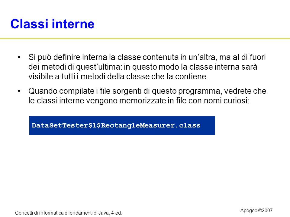 Concetti di informatica e fondamenti di Java, 4 ed. Apogeo ©2007 Classi interne Si può definire interna la classe contenuta in unaltra, ma al di fuori