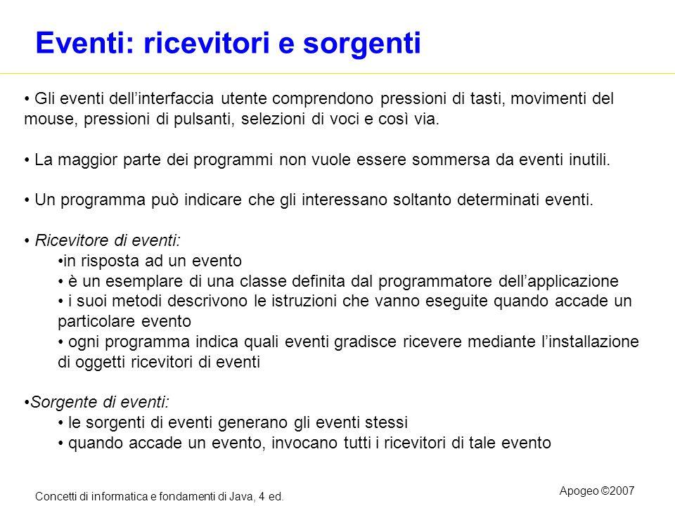 Concetti di informatica e fondamenti di Java, 4 ed. Apogeo ©2007 Eventi: ricevitori e sorgenti Gli eventi dellinterfaccia utente comprendono pressioni