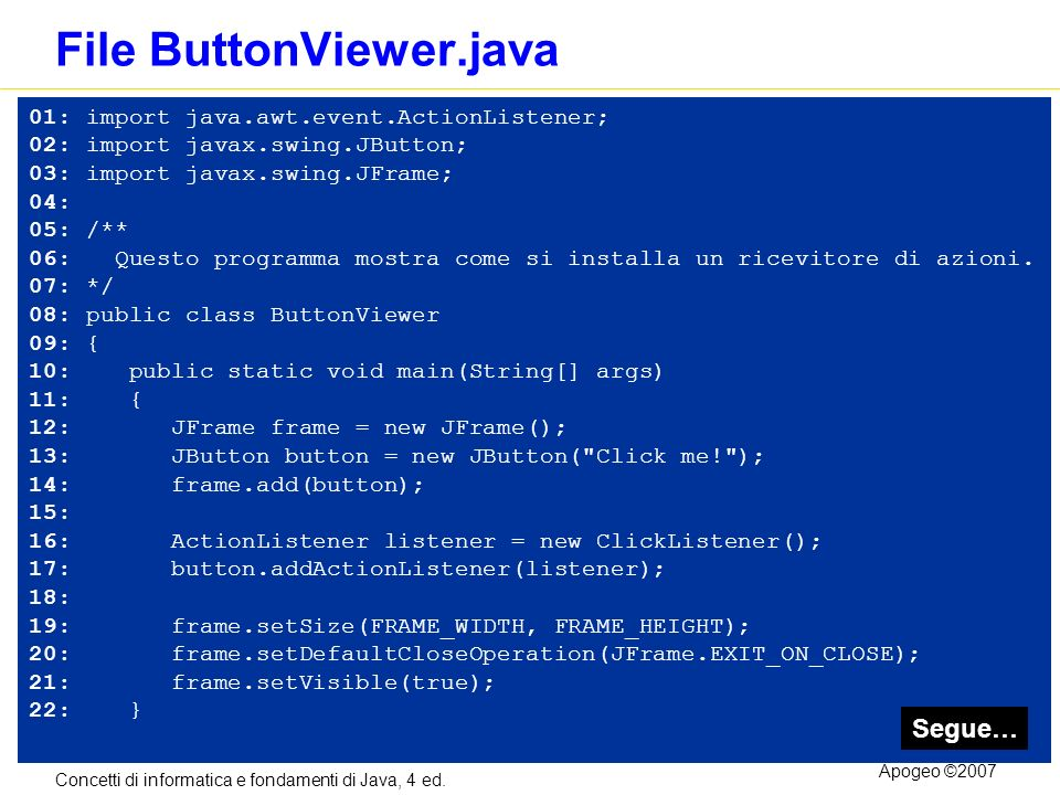 Concetti di informatica e fondamenti di Java, 4 ed. Apogeo ©2007 File ButtonViewer.java 01: import java.awt.event.ActionListener; 02: import javax.swi