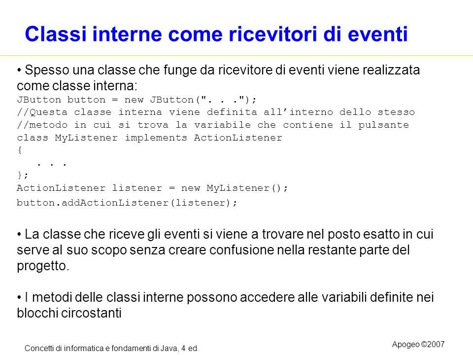 Concetti di informatica e fondamenti di Java, 4 ed. Apogeo ©2007 Classi interne come ricevitori di eventi Spesso una classe che funge da ricevitore di
