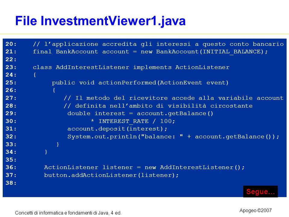 Concetti di informatica e fondamenti di Java, 4 ed. Apogeo ©2007 File InvestmentViewer1.java 20: // lapplicazione accredita gli interessi a questo con
