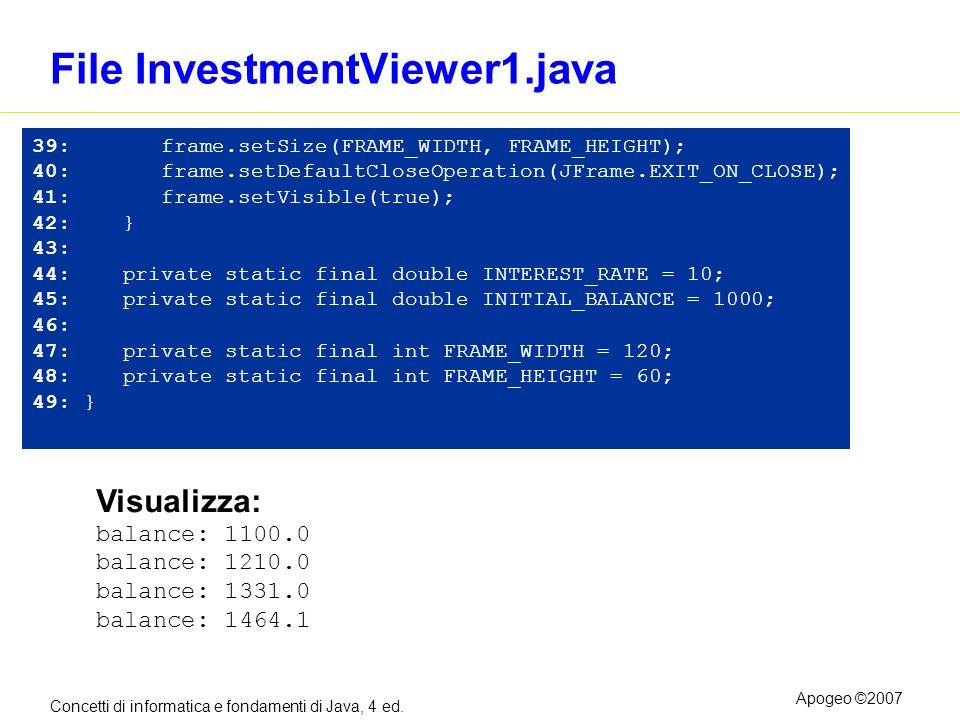 Concetti di informatica e fondamenti di Java, 4 ed. Apogeo ©2007 File InvestmentViewer1.java 39: frame.setSize(FRAME_WIDTH, FRAME_HEIGHT); 40: frame.s