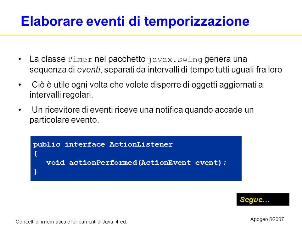 Concetti di informatica e fondamenti di Java, 4 ed. Apogeo ©2007 Elaborare eventi di temporizzazione La classe Timer nel pacchetto javax.swing genera