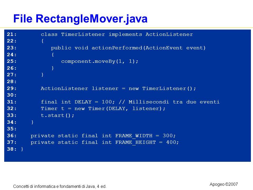 Concetti di informatica e fondamenti di Java, 4 ed. Apogeo ©2007 File RectangleMover.java 21: class TimerListener implements ActionListener 22: { 23: