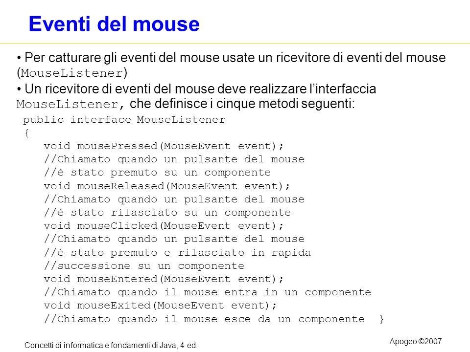 Concetti di informatica e fondamenti di Java, 4 ed. Apogeo ©2007 Eventi del mouse Per catturare gli eventi del mouse usate un ricevitore di eventi del