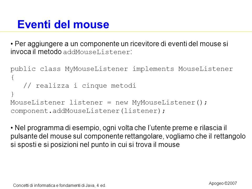 Concetti di informatica e fondamenti di Java, 4 ed. Apogeo ©2007 Eventi del mouse Per aggiungere a un componente un ricevitore di eventi del mouse si