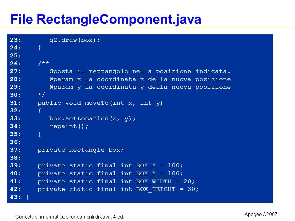 Concetti di informatica e fondamenti di Java, 4 ed. Apogeo ©2007 File RectangleComponent.java 23: g2.draw(box); 24: } 25: 26: /** 27: Sposta il rettan