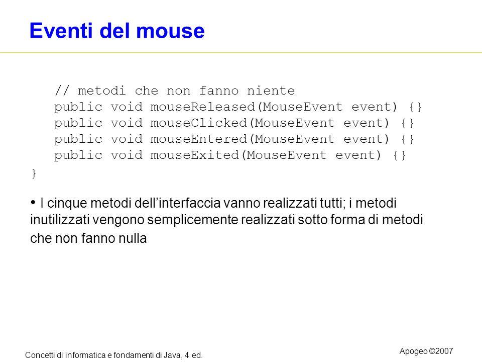 Concetti di informatica e fondamenti di Java, 4 ed. Apogeo ©2007 Eventi del mouse // metodi che non fanno niente public void mouseReleased(MouseEvent