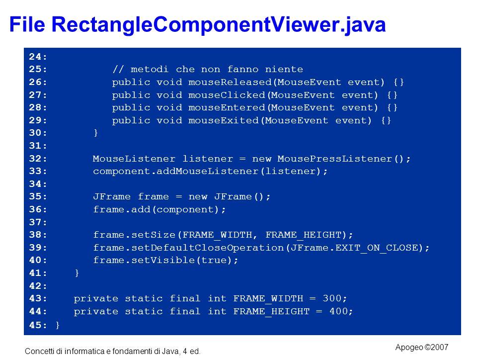 Concetti di informatica e fondamenti di Java, 4 ed. Apogeo ©2007 File RectangleComponentViewer.java 24: 25: // metodi che non fanno niente 26: public