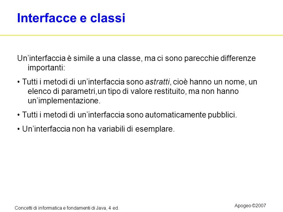 Concetti di informatica e fondamenti di Java, 4 ed. Apogeo ©2007 Interfacce e classi Uninterfaccia è simile a una classe, ma ci sono parecchie differe