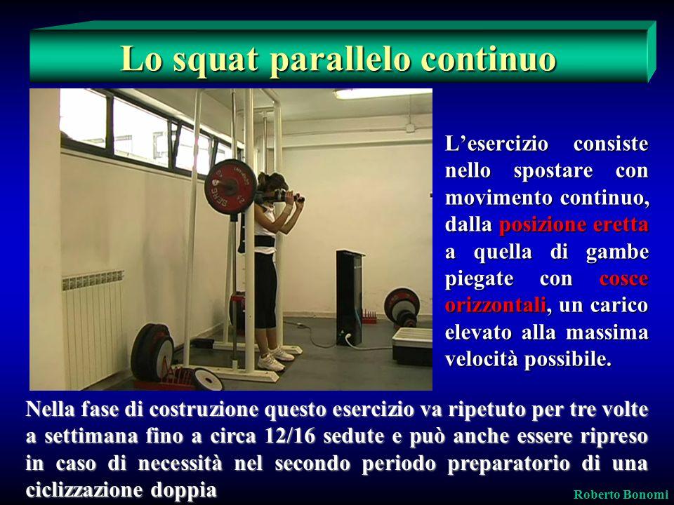 Lesercizio consiste nello spostare con movimento continuo, dalla posizione eretta a quella di gambe piegate con cosce orizzontali, un carico elevato a