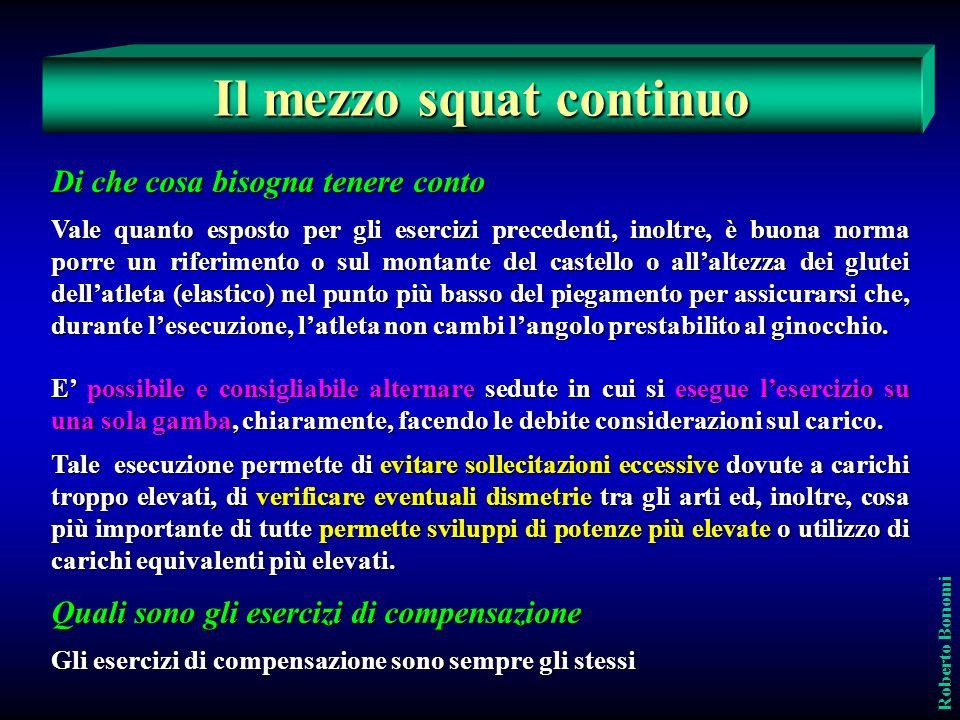 Quali sono gli esercizi di compensazione Gli esercizi di compensazione sono sempre gli stessi Roberto Bonomi Il mezzo squat continuo Di che cosa bisog