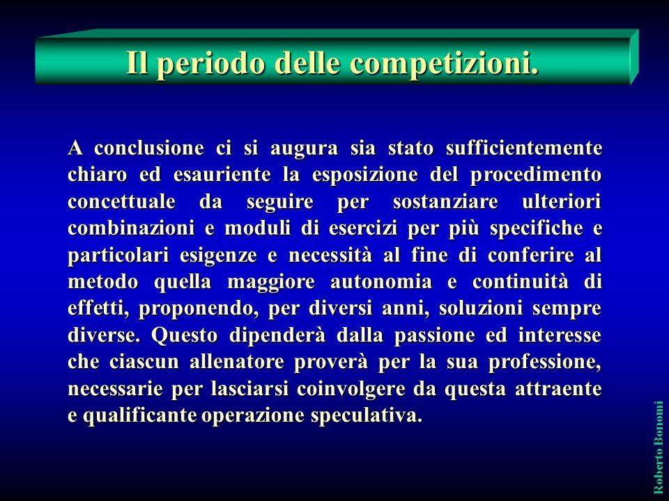 Il periodo delle competizioni. Roberto Bonomi A conclusione ci si augura sia stato sufficientemente chiaro ed esauriente la esposizione del procedimen