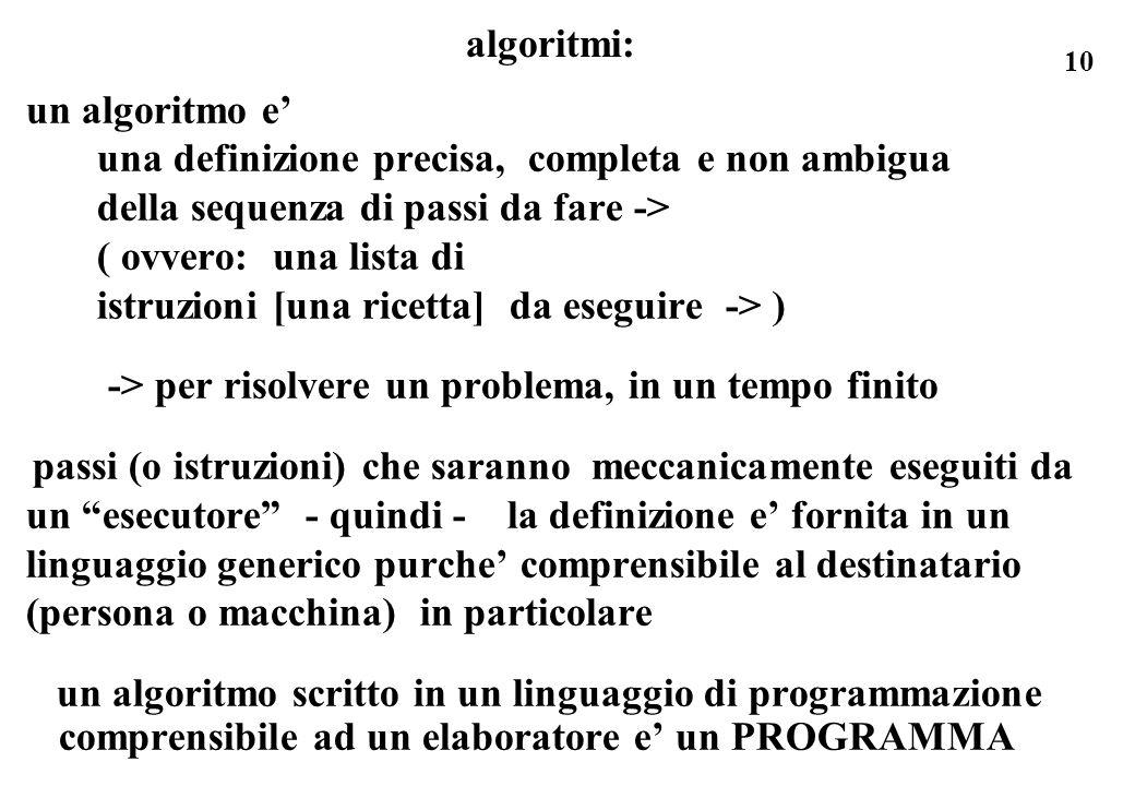 10 algoritmi: un algoritmo e una definizione precisa, completa e non ambigua della sequenza di passi da fare -> ( ovvero: una lista di istruzioni [una