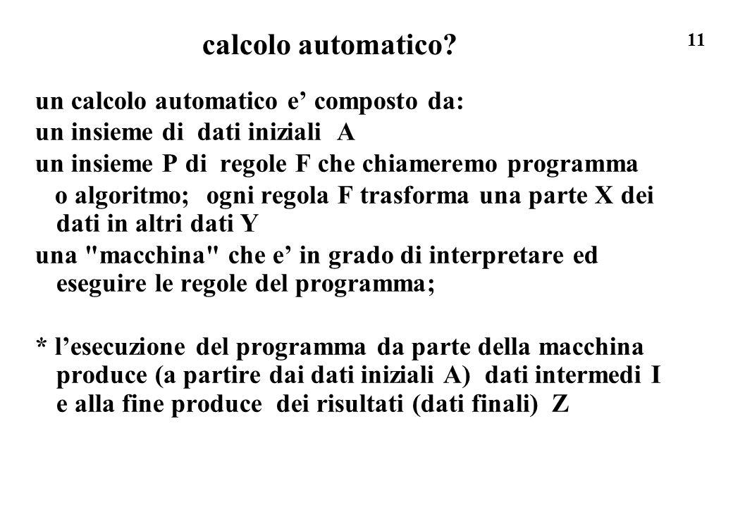 11 calcolo automatico? un calcolo automatico e composto da: un insieme di dati iniziali A un insieme P di regole F che chiameremo programma o algoritm