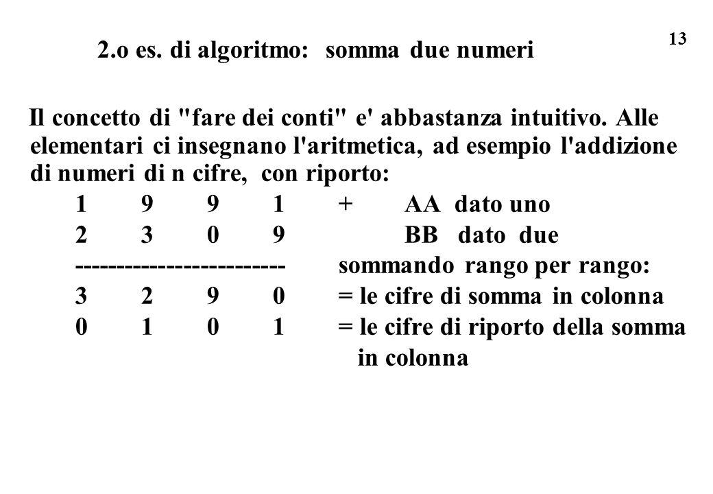 13 2.o es. di algoritmo: somma due numeri Il concetto di