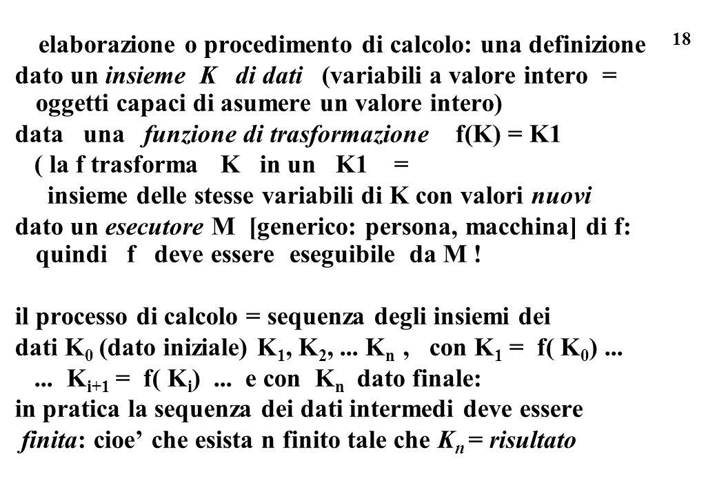 18 elaborazione o procedimento di calcolo: una definizione dato un insieme K di dati (variabili a valore intero = oggetti capaci di asumere un valore