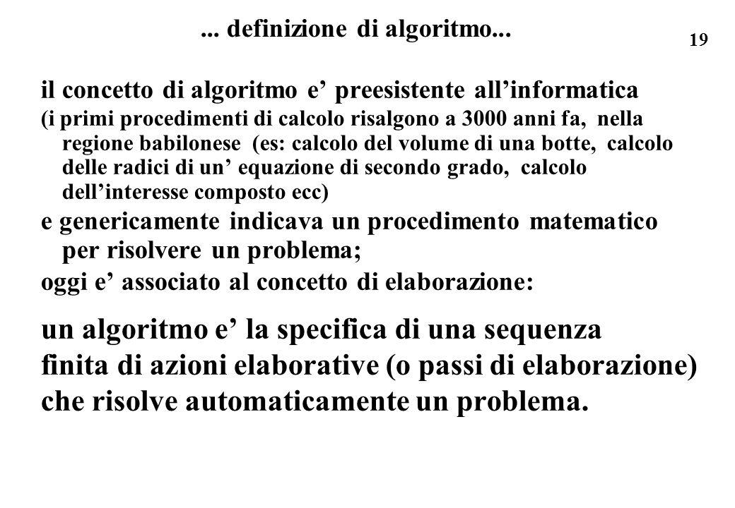 19... definizione di algoritmo... il concetto di algoritmo e preesistente allinformatica (i primi procedimenti di calcolo risalgono a 3000 anni fa, ne