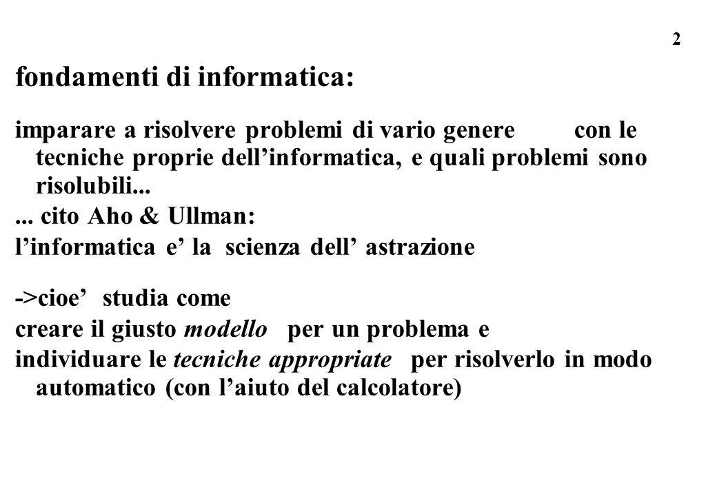 2 fondamenti di informatica: imparare a risolvere problemi di vario genere con le tecniche proprie dellinformatica, e quali problemi sono risolubili..
