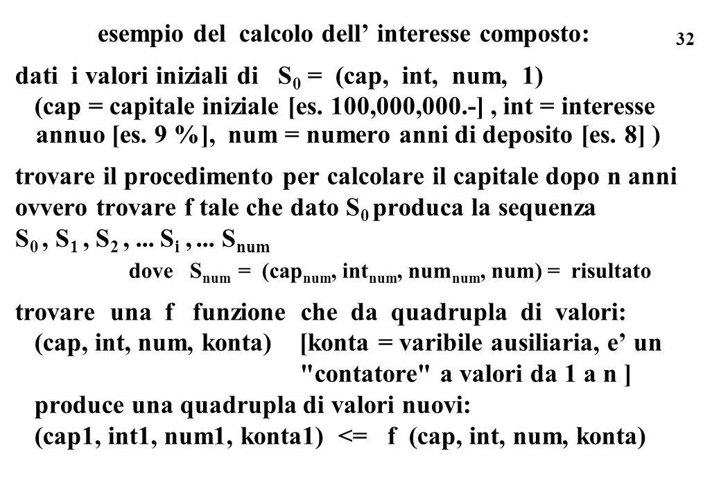 32 esempio del calcolo dell interesse composto: dati i valori iniziali di S 0 = (cap, int, num, 1) (cap = capitale iniziale [es. 100,000,000.-], int =