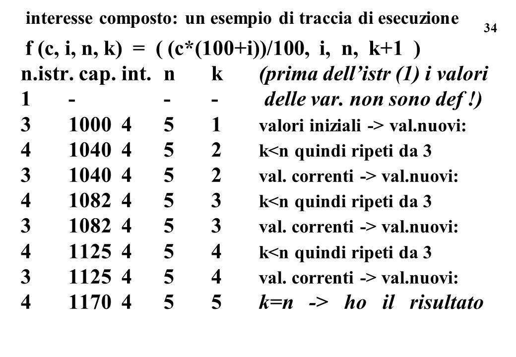 34 interesse composto: un esempio di traccia di esecuzione f (c, i, n, k) = ( (c*(100+i))/100, i, n, k+1 ) n.istr. cap. int. nk(prima dellistr (1) i v