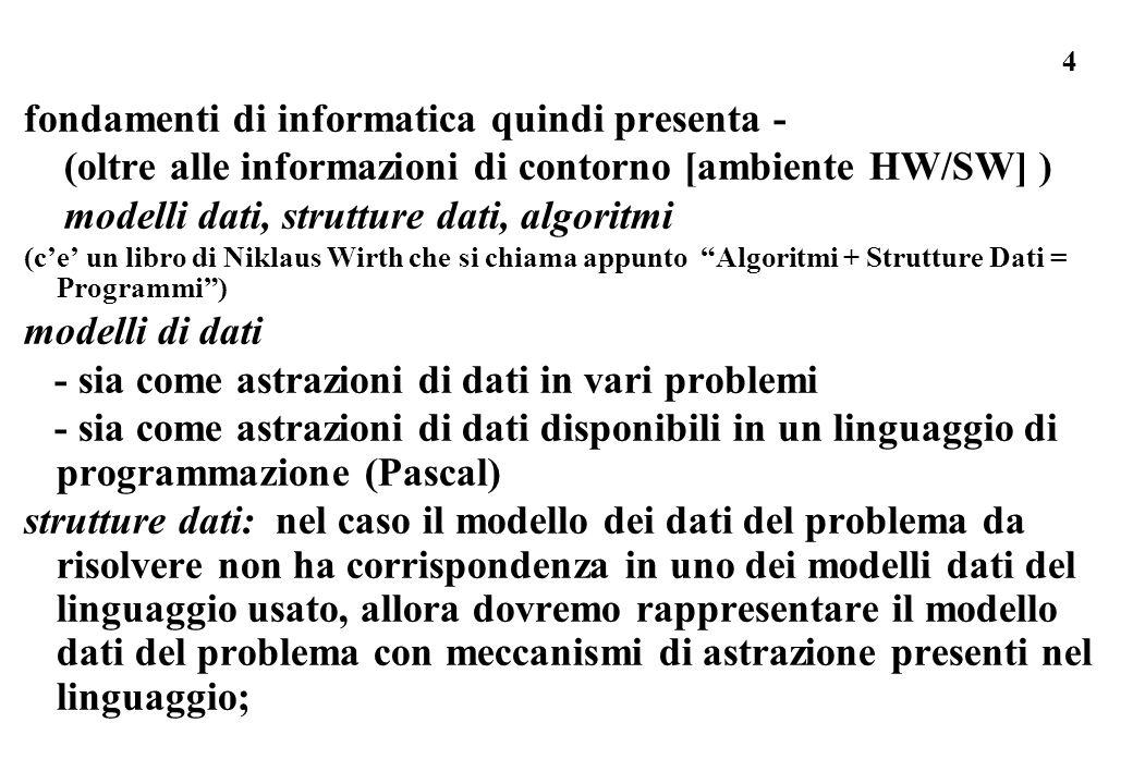 4 fondamenti di informatica quindi presenta - (oltre alle informazioni di contorno [ambiente HW/SW] ) modelli dati, strutture dati, algoritmi (ce un l