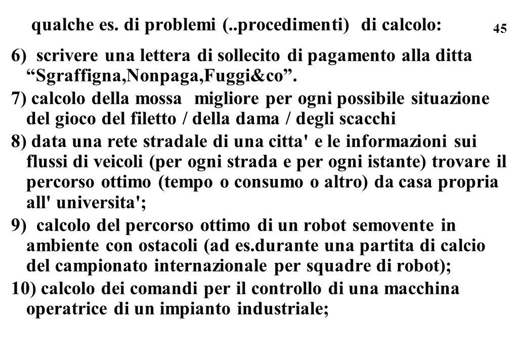 45 qualche es. di problemi (..procedimenti) di calcolo: 6) scrivere una lettera di sollecito di pagamento alla ditta Sgraffigna,Nonpaga,Fuggi&co. 7) c