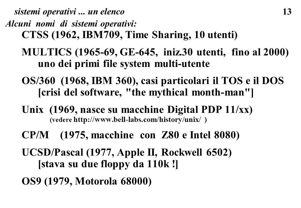 13 sistemi operativi... un elenco Alcuni nomi di sistemi operativi: CTSS (1962, IBM709, Time Sharing, 10 utenti) MULTICS (1965-69, GE-645, iniz.30 ute