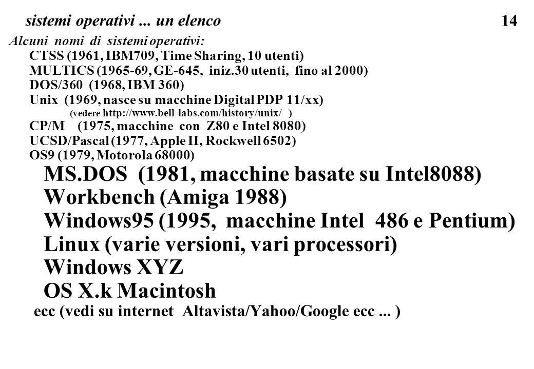 14 sistemi operativi... un elenco Alcuni nomi di sistemi operativi: CTSS (1961, IBM709, Time Sharing, 10 utenti) MULTICS (1965-69, GE-645, iniz.30 ute