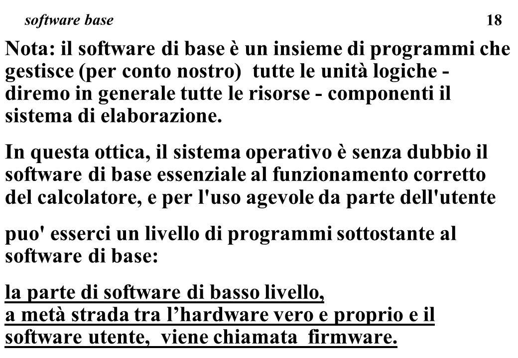 18 Nota: il software di base è un insieme di programmi che gestisce (per conto nostro) tutte le unità logiche - diremo in generale tutte le risorse - componenti il sistema di elaborazione.