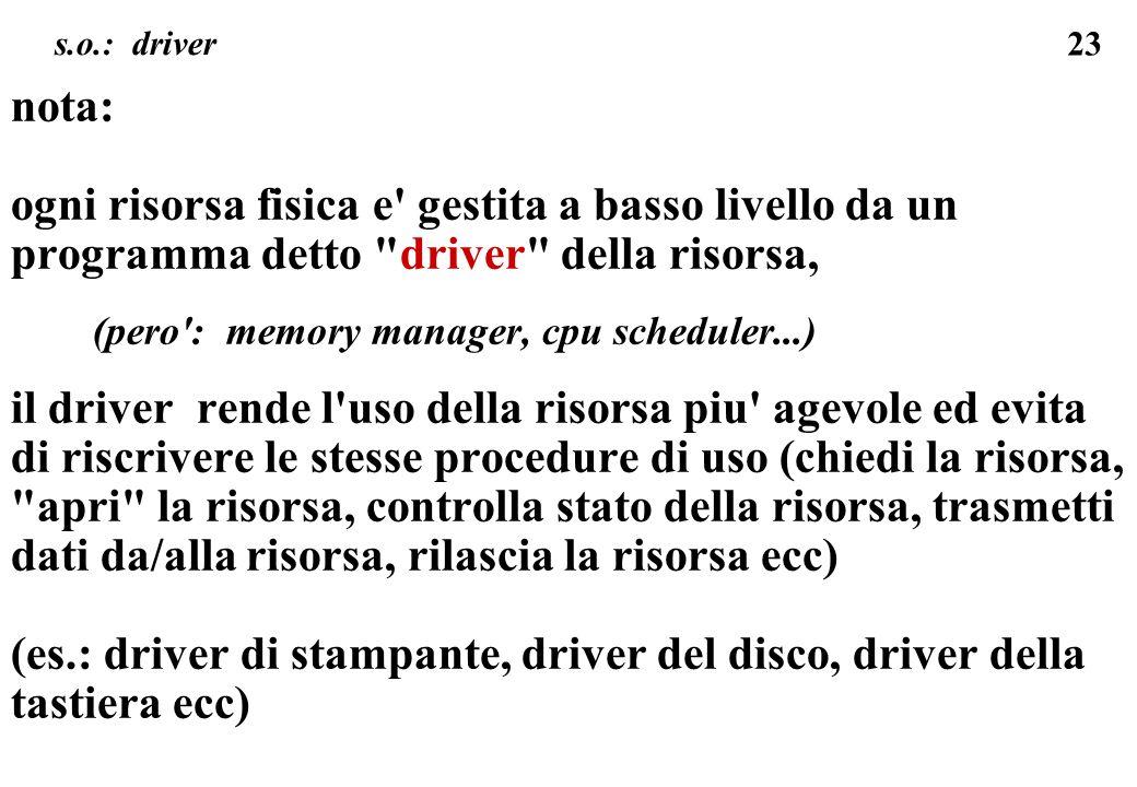 23 s.o.: driver nota: ogni risorsa fisica e' gestita a basso livello da un programma detto