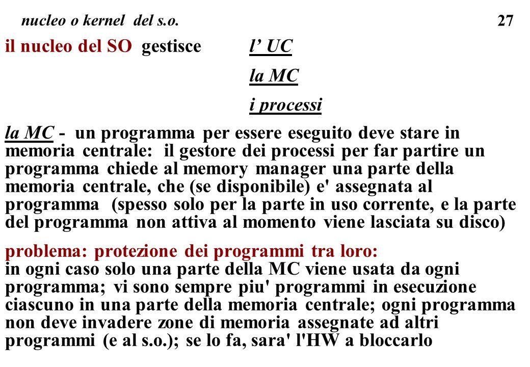 27 il nucleo del SO gestiscel UC la MC i processi la MC - un programma per essere eseguito deve stare in memoria centrale: il gestore dei processi per