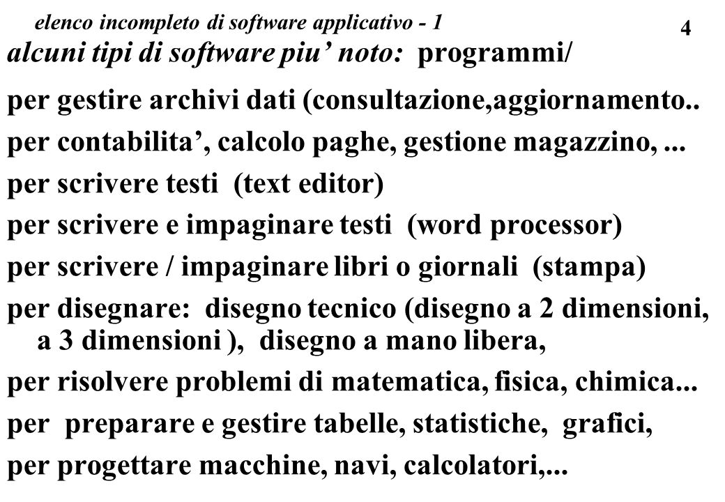 4 elenco incompleto di software applicativo - 1 alcuni tipi di software piu noto: programmi/ per gestire archivi dati (consultazione,aggiornamento..