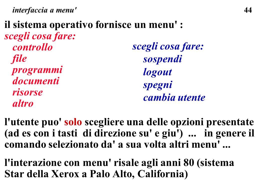 44 interfaccia a menu' il sistema operativo fornisce un menu' : scegli cosa fare: controllo file programmi documenti risorse altro l'utente puo' solo