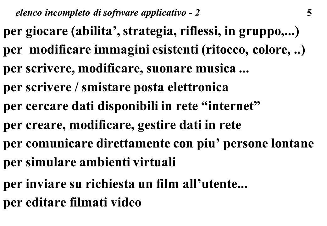 5 elenco incompleto di software applicativo - 2 per giocare (abilita, strategia, riflessi, in gruppo,...) per modificare immagini esistenti (ritocco,