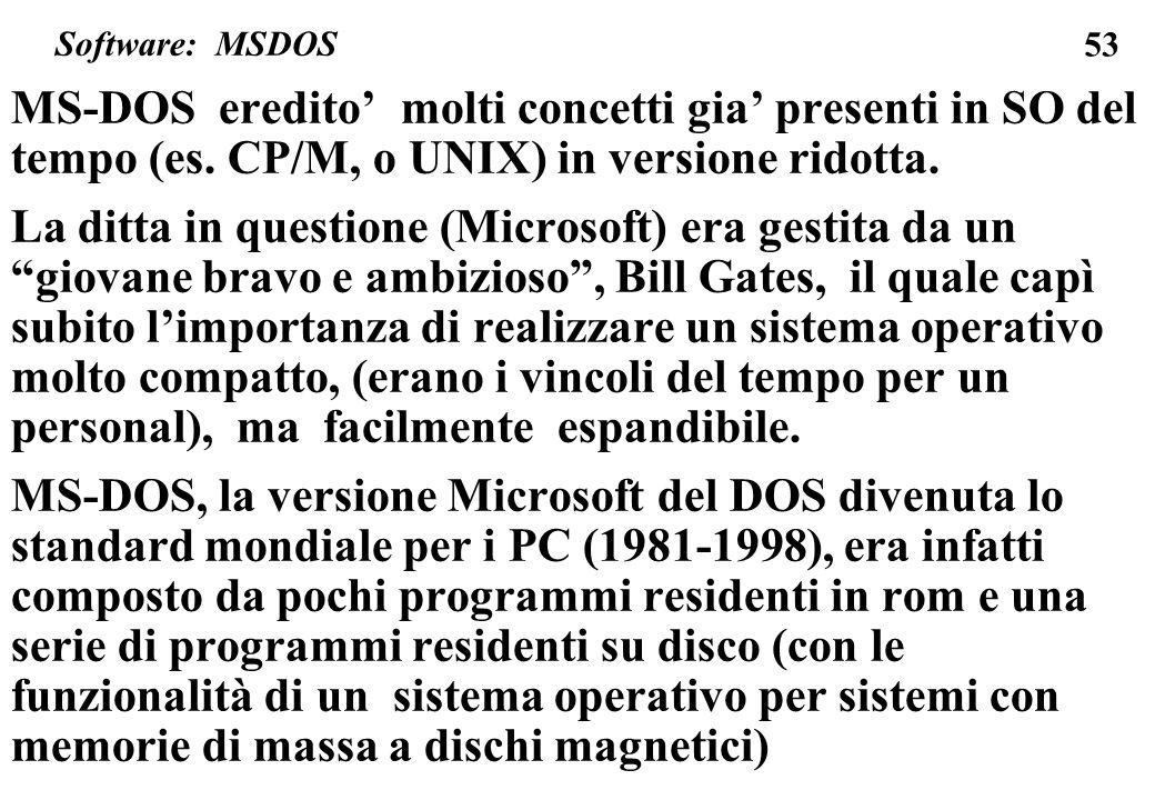53 MS-DOS eredito molti concetti gia presenti in SO del tempo (es. CP/M, o UNIX) in versione ridotta. La ditta in questione (Microsoft) era gestita da