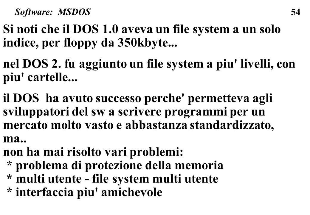 54 Si noti che il DOS 1.0 aveva un file system a un solo indice, per floppy da 350kbyte... nel DOS 2. fu aggiunto un file system a piu' livelli, con p