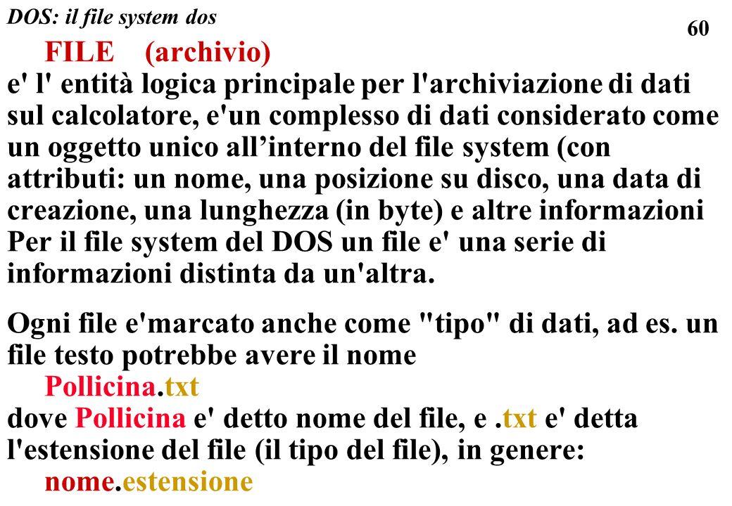 60 FILE (archivio) e l entità logica principale per l archiviazione di dati sul calcolatore, e un complesso di dati considerato come un oggetto unico allinterno del file system (con attributi: un nome, una posizione su disco, una data di creazione, una lunghezza (in byte) e altre informazioni Per il file system del DOS un file e una serie di informazioni distinta da un altra.