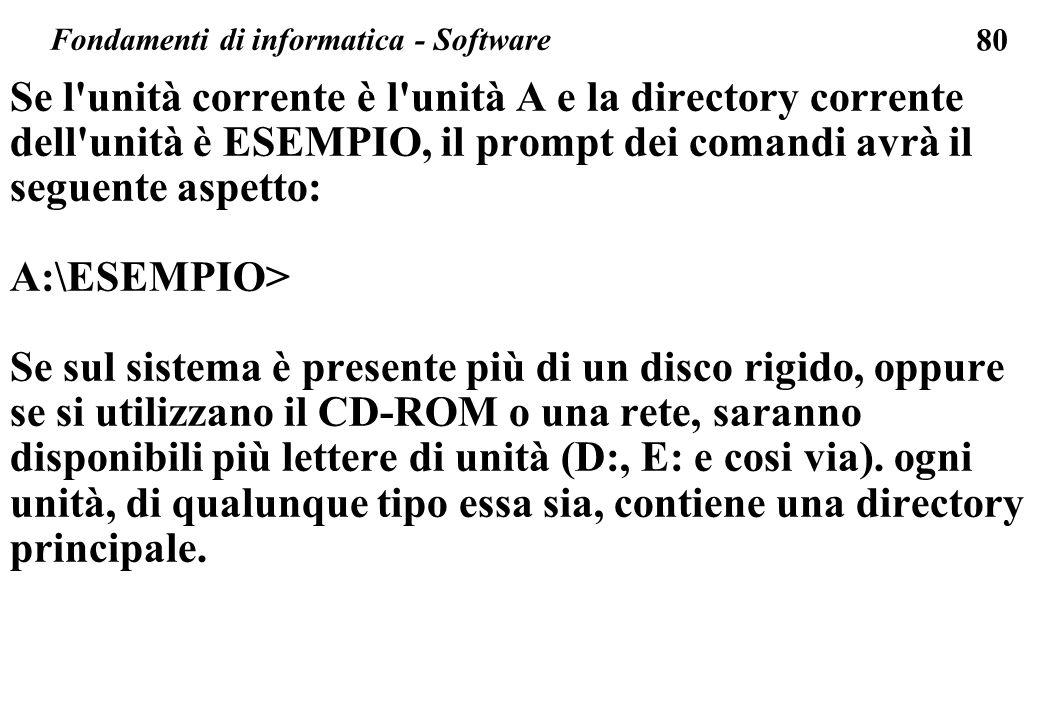 80 Se l unità corrente è l unità A e la directory corrente dell unità è ESEMPIO, il prompt dei comandi avrà il seguente aspetto: A:\ESEMPIO> Se sul sistema è presente più di un disco rigido, oppure se si utilizzano il CD-ROM o una rete, saranno disponibili più lettere di unità (D:, E: e cosi via).