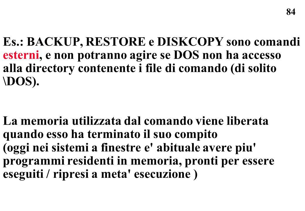 84 Es.: BACKUP, RESTORE e DISKCOPY sono comandi esterni, e non potranno agire se DOS non ha accesso alla directory contenente i file di comando (di solito \DOS).